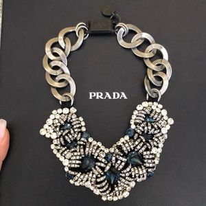 Stunning Prada bib chain link necklace with box